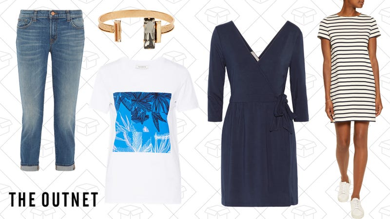 J-Brand Cropped Ellis Jeans, $62 | Sandro Tonight Printed T-Shirt, $33 | Elizabeth Cole Jayden Cuff, $41 | Tart Collections Isabella Dress, $49 | Iris and Ink Daisy Dress, $59