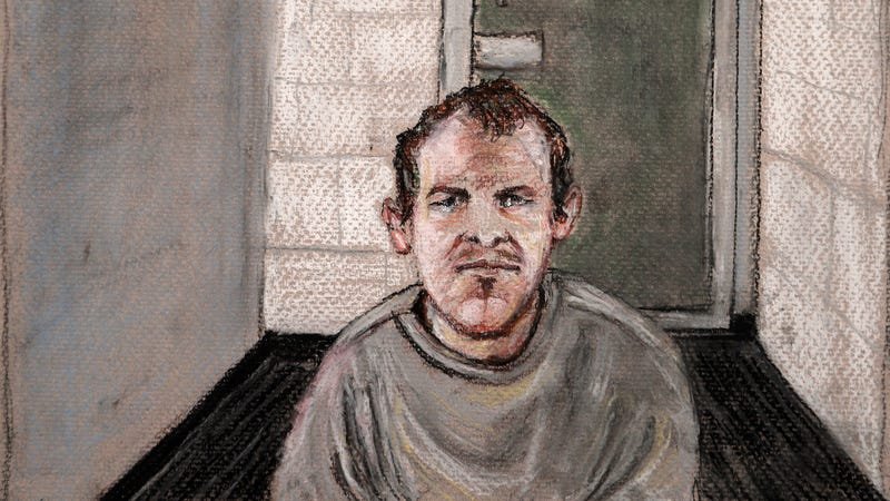Accused terrorist and all around loser Brenton Tarrant in a courtroom drawing from June 14, 2019