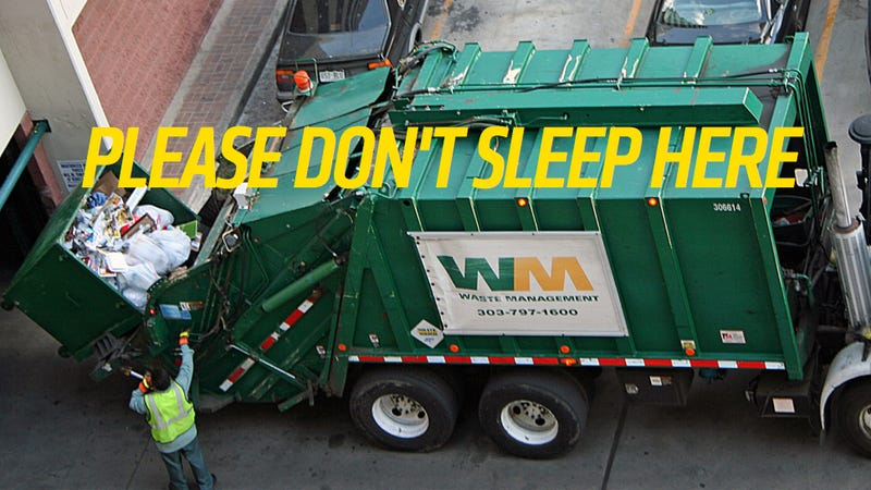 Illustration for article titled Man Sleeping In Dumpster Gets Compacted By Garbage Truck And Lives