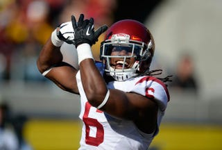 Josh Shaw of the University of Southern California Trojans celebrates after returning a blocked punt for a touchdown against the California Golden Bears on Nov. 9, 2013, at California Memorial Stadium in Berkeley, Calif.Thearon W. Henderson/Getty Images