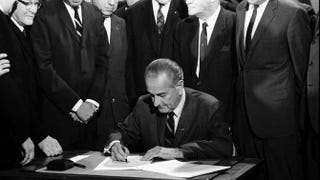 President Lyndon B. Johnson signs the Fair Housing Act in 1968.Warren K. Leffler/Library of Congress