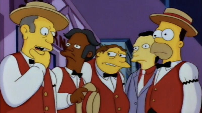 """Illustration for article titled The Simpsons (Classic): """"Homer's Barbershop Quartet"""""""