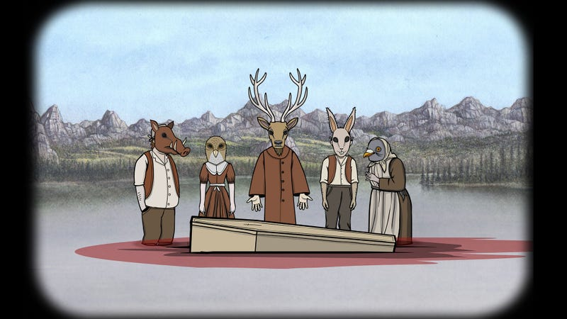 Just your average family wearing animal heads standing in a lake around a bleeding coffin, you know.