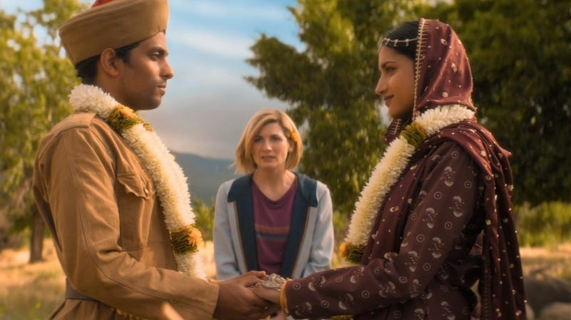 "Jodie Whittaker in the Doctor Who episode ""Demons of the Punjab,"" which is a Hugo Awards finalist."