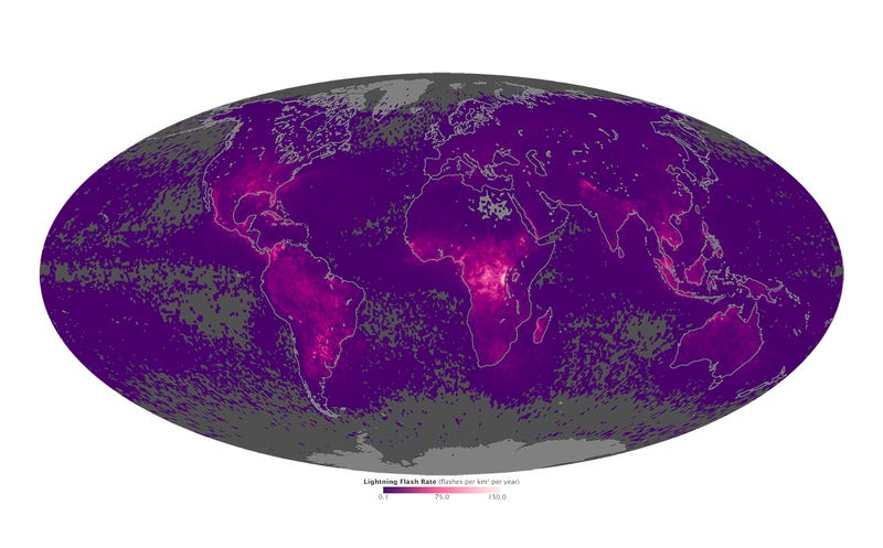 Illustration for article titled A Map Of Where You'll See The Strongest Lightning Displays In The World
