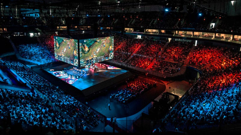 The arena at the Mid-Season Invitational, by Riot Games. Source