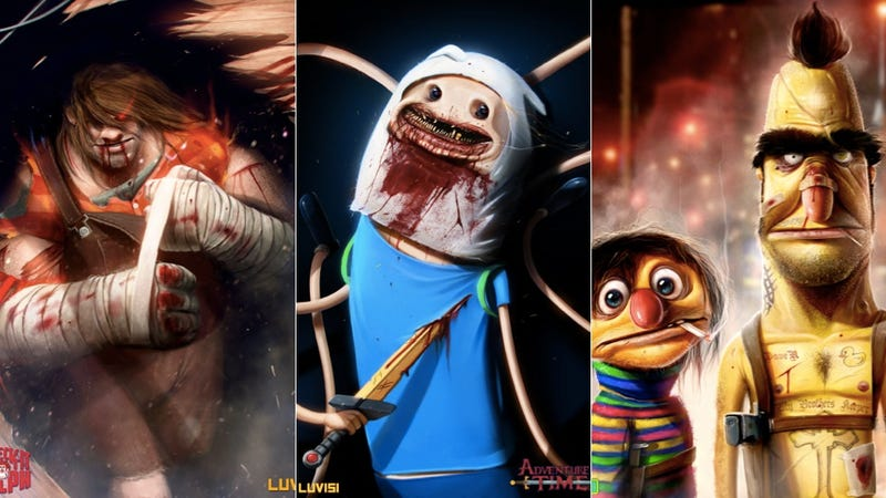 Illustration for article titled Your Favorite Cartoons and Puppets, Redrawn as Horrifying Nightmares
