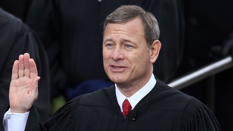 Illustration for article titled Justice Roberts Stops In Middle Of Oath Of Office To Remind Audience This Just His Job