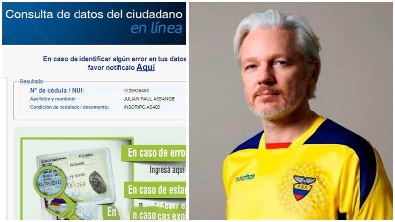 Illustration for article titled Julian Assange ya es ecuatoriano: Ecuador le concedió la ciudadanía y una cédula de identidad