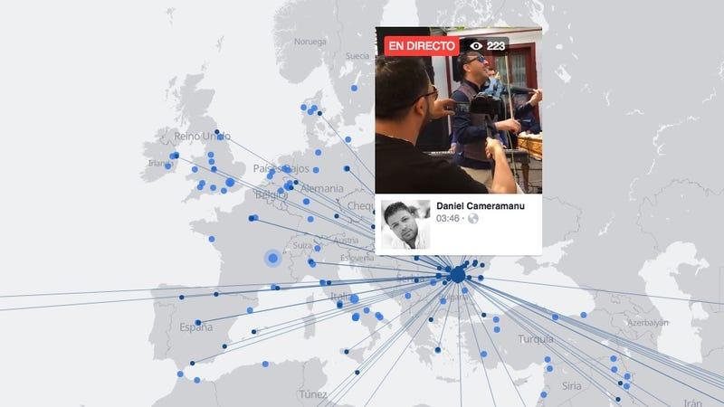 Illustration for article titled Mira lo que hace un extraño al otro lado del mundo con el nuevo mapa interactivo de Facebook