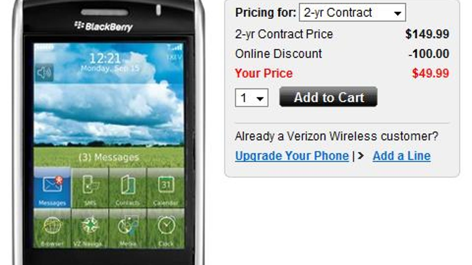 Preparing for the Storm 2? Verizon BlackBerry Storm Now $50
