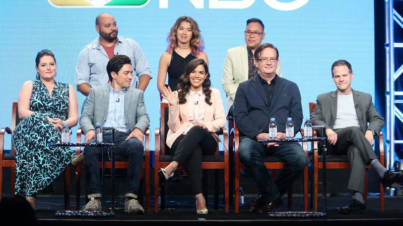 The cast of Superstore with showrunner Justin Spitzer on the far right.