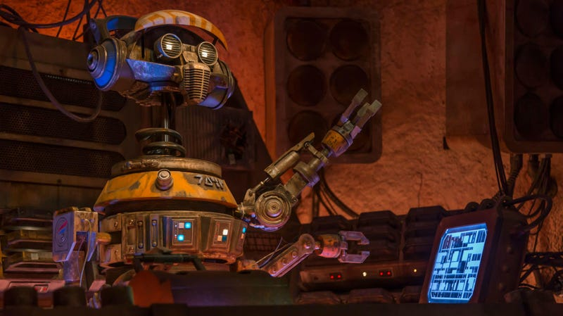 DJ R-3X used to fly for Star Tours, but he's now a DJ on Batuu.