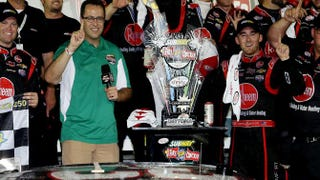 Then-Subway spokesman Jared Fogle poses with Austin Dillon, driver of the No. 33 Rheem Chevrolet after Dillon won the NASCAR Xfinity Series Subway Firecracker 250 Powered by Coca-Cola at Daytona International Speedway on July 4, 2015, in Daytona Beach, Florida.Patrick Smith/Getty Images