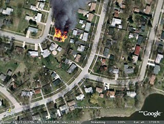 Illustration for article titled Visit To Google Earth Reveals House Is On Fire