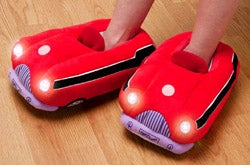 Illustration for article titled Car Slippers Light Up the Bathroom Trail