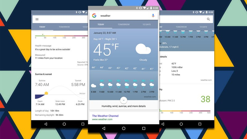 Illustration for article titled Google's New Weather Card Has More Information Than You'll Ever Need