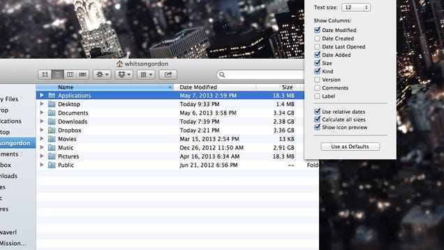 See the Size of All Your Folders in OS X's Finder