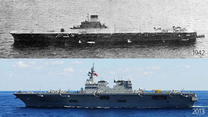 Japan keeps ignoring World War II surrender terms, builds carrier