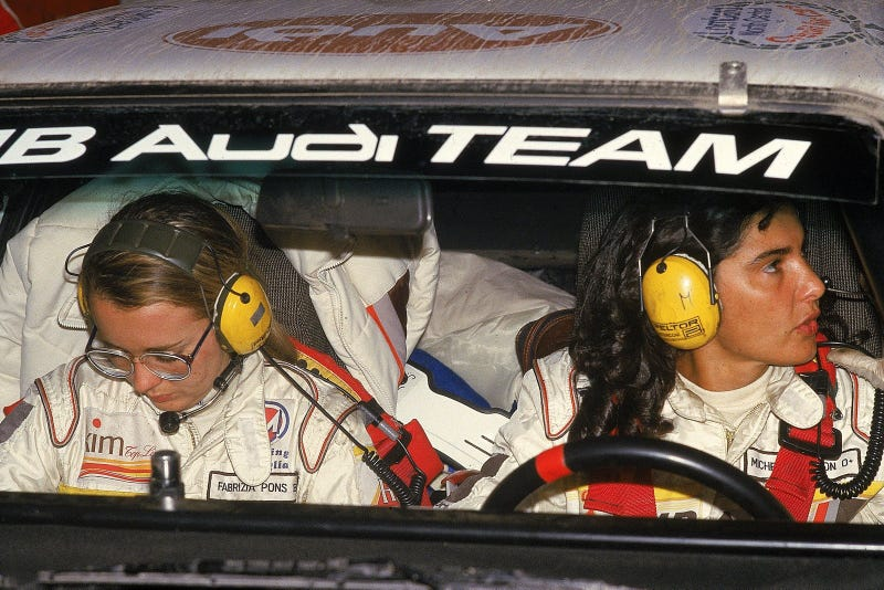 Michelle Mouton and co-driver Fabrizia Pons at the 1984 RAC Rally.