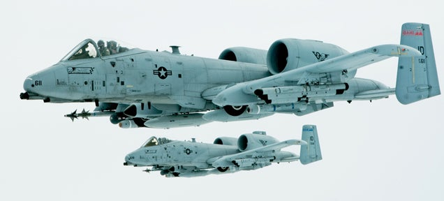 The A-10 Warthog looks especially awesome and futuristic in this photo