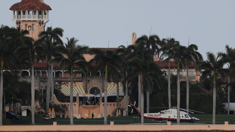The Trump helicopter is seen at the Mar-a-Lago Resort. Photo via Getty.
