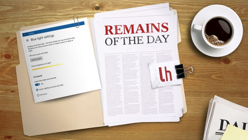 Illustration for article titled Remains of the Day: Latest Windows 10 Preview Has F.lux-Like Features