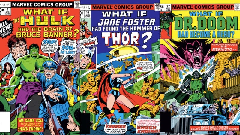 Covers for issues of What If whose stories wound up happening in the mainline Marvel Universe.