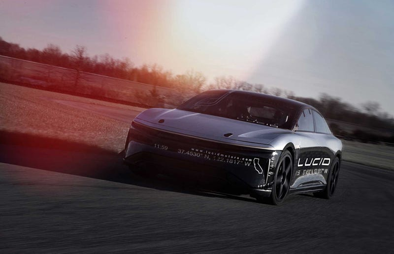 Lucid's Air electric luxury sedan hits supercar-type speeds on test track