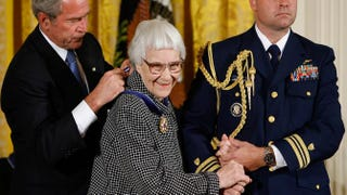 President George W. Bush hangs a Presidential Medal of Freedom on the neck of Harper Lee, the Pulitzer Prize-winning author of To Kill a Mockingbird, Nov. 5, 2007, at the White House.Chip Somodevilla/Getty Images