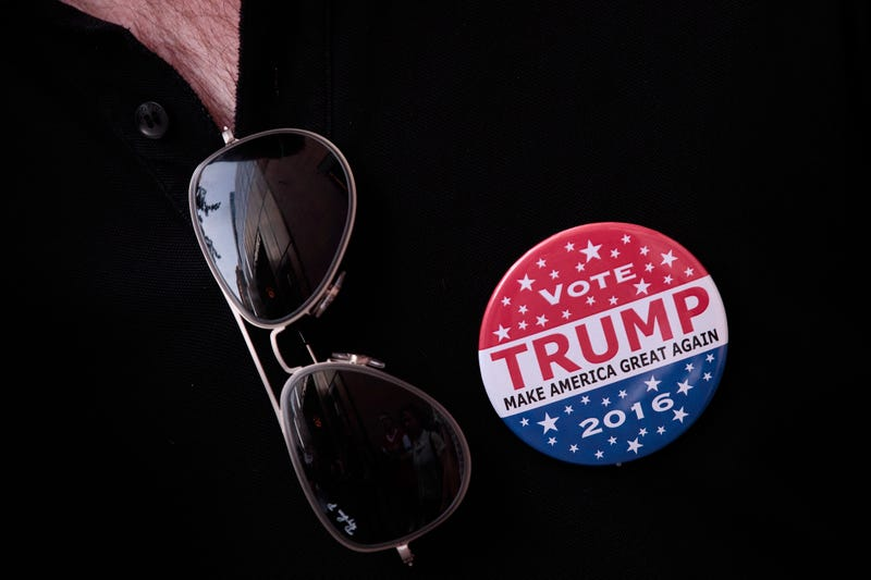 A Donald Trump button worn by a supporter outside of Trump Tower in New York City on June 21, 2016.Drew Angerer/Getty Images