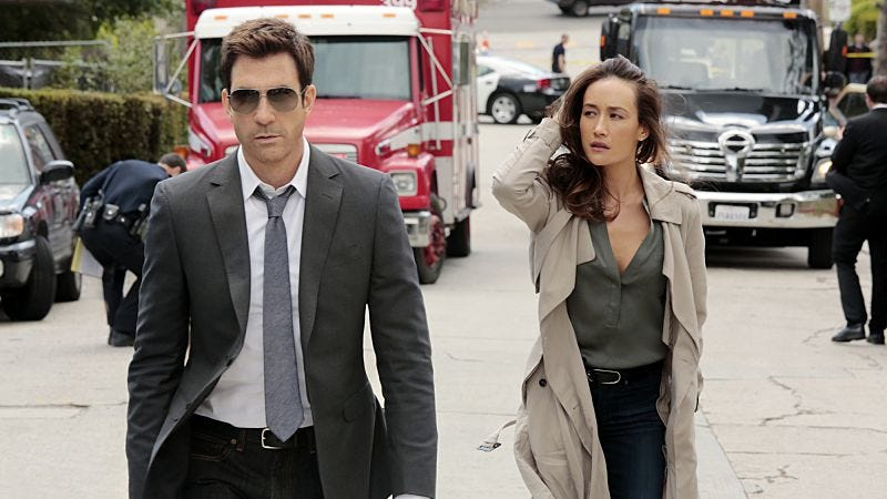 Dylan McDermott (left), Maggie Q, giving up (all aound) (CBS)