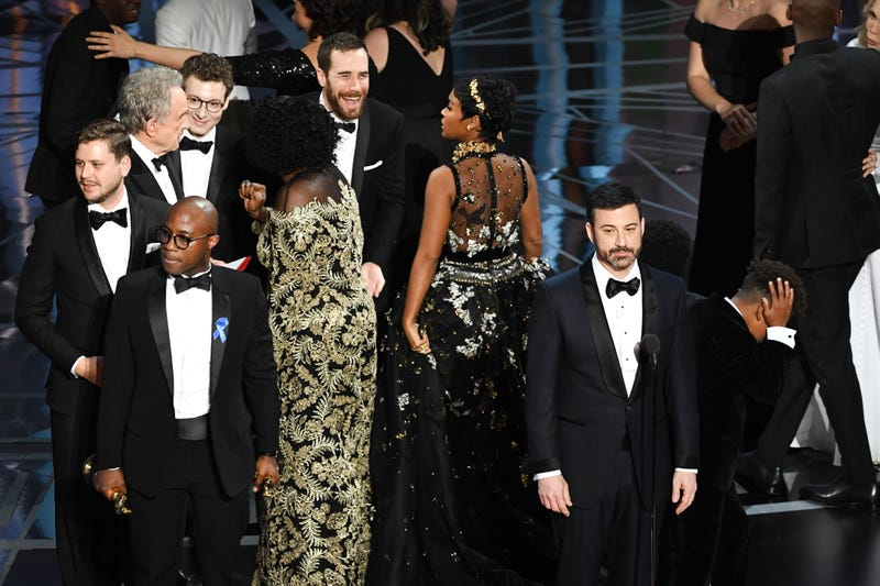 Scene on the Oscars stage Feb. 26, 2017, during the mix-up in announcing Moonlight's win for best picture (Kevin Winter/Getty Images)