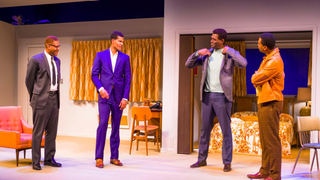 Tory Andrus, Sullivan Jones, Esau Pritchett and Grasan Kingsberry portray Malcolm X, Cassius Clay, Jim Brown and Sam Cooke, respectively, in One Night in Miami at Center Stage in Baltimore.Richard Anderson/Courtesy of Center Stage
