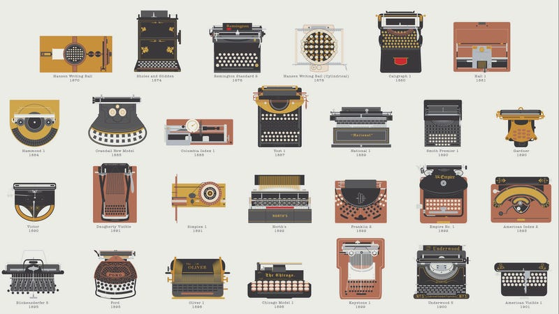 Illustration for article titled Silently Celebrate Typewriters With This Illustrated Army of Classics