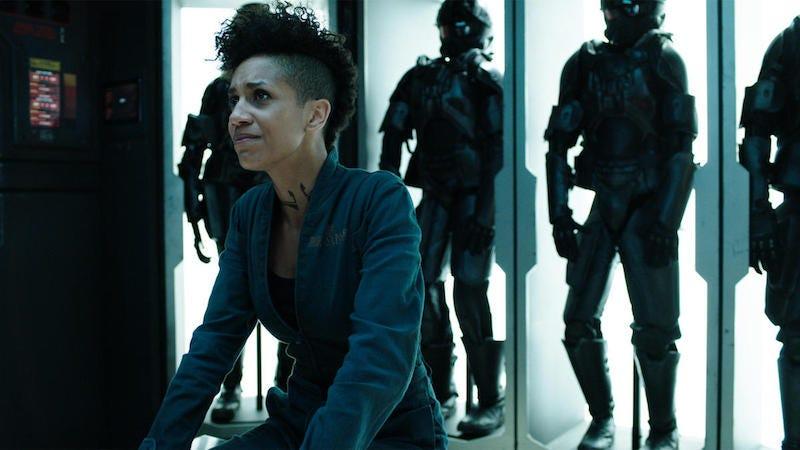 "Image: Naomi (Dominique Tipper) in ""Caliban's War"" (Syfy)"