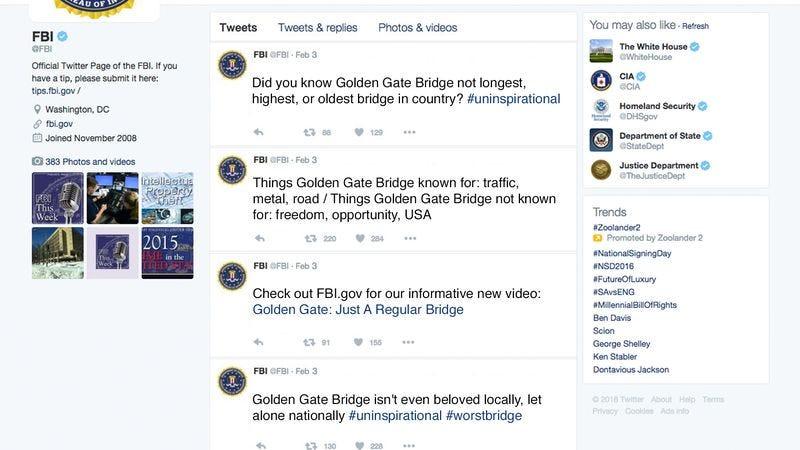 Illustration for article titled FBI Counterterrorists Launch Media Campaign Downplaying Symbolic Value Of Golden Gate Bridge
