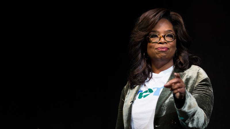 Oprah Winfrey talks to an audience about the importance of voting and her support of Georgia Democratic Gubernatorial candidate Stacey Abrams during a town hall style event on November 1, 2018.
