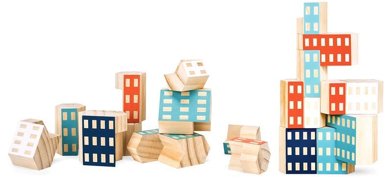 Illustration for article titled Irregular-Shaped Building Blocks Let Kids Build Ultra-Modern Skyscrapers