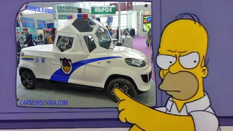 Illustration for article titled These Absurd Chinese Cop Cars Look Like Homer Simpson's Designs
