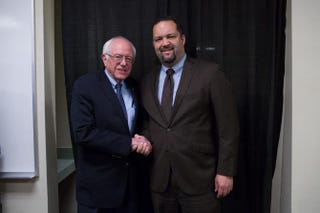 Bernie Sanders and Benjamin Jealous at the Verizon Wireless Arena in Manchester, N.H., on Feb. 5, 2016.Hilary Hess/Exclusive to The Root