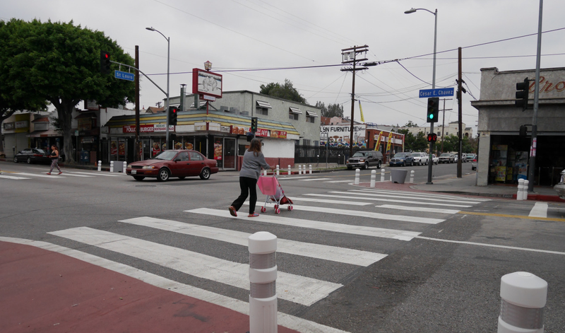 Crosswalks in LA's Boyle Heights. (Image: LA Great Streets)