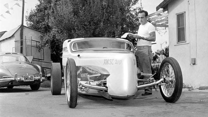 George Barris with a customized 1934 Model A which he made to produce 500 horsepower.