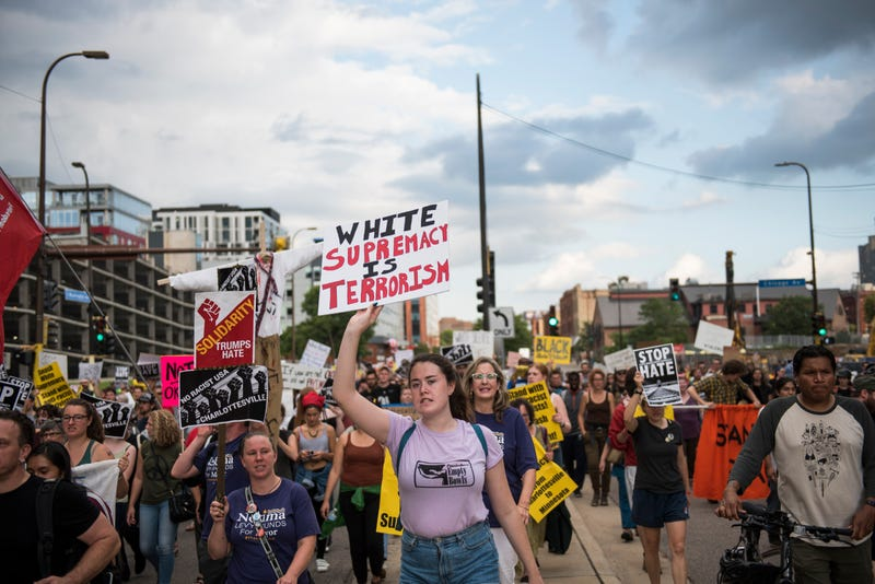 People march down Washington Avenue in Minneapolis on Aug. 14, 2017, to protest racism and the violence that happened over the weekend in Charlottesville, Va. (Stephen Maturen/Getty Images)