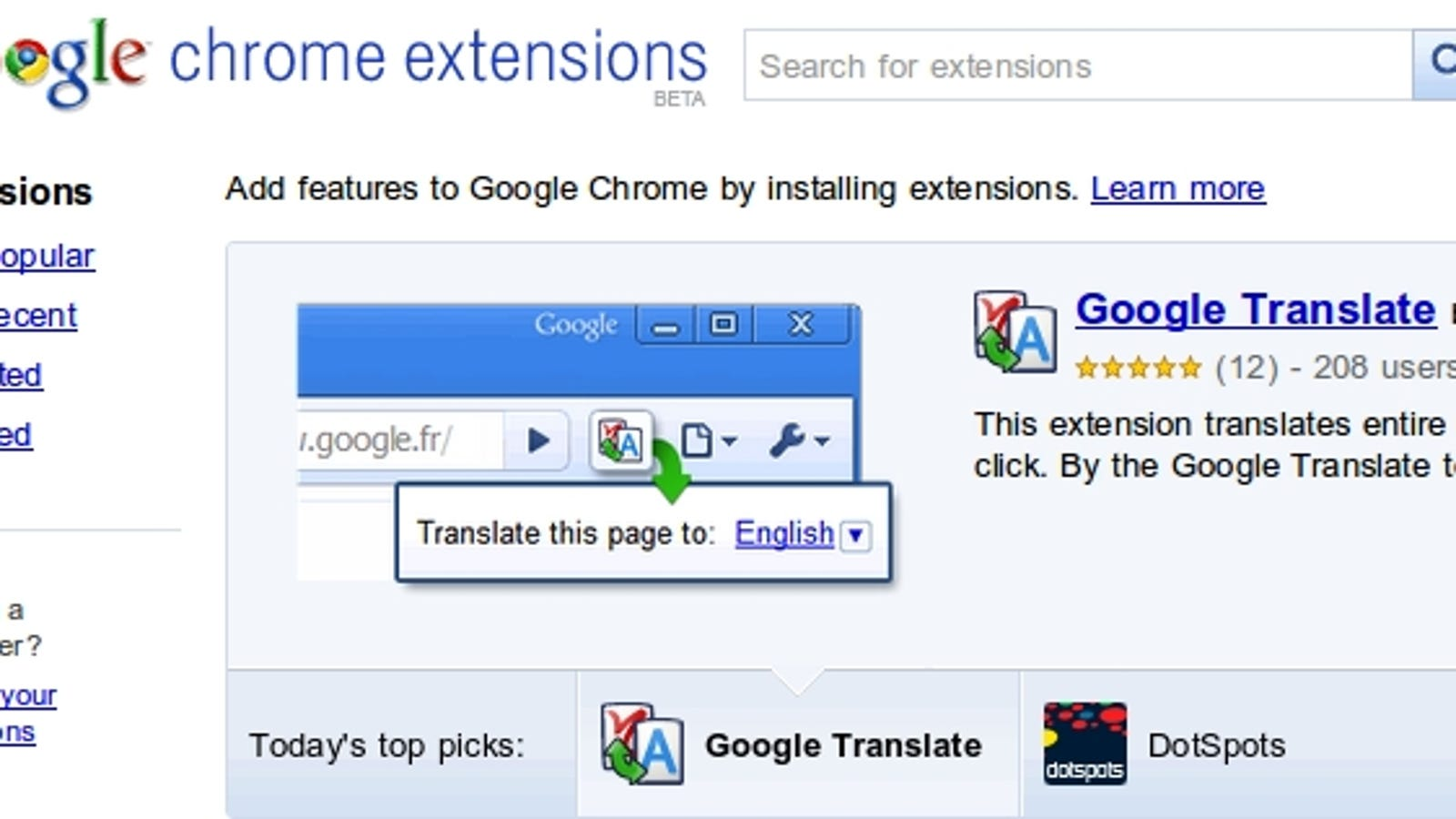 google chrome translate extension