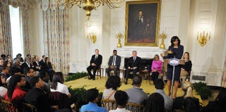 Michelle Obama addresses the crowd gathered for the 42 screening and discussion at the White House. (Getty Images)