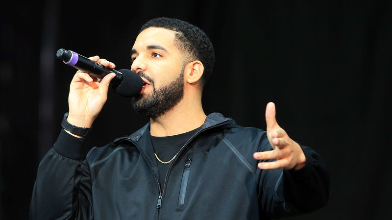 Singer Drake speaks to the crowd prior to the Floyd Mayweather Jr. v Conor McGregor World Press Tour on July 12, 2017 in Toronto, Canada.