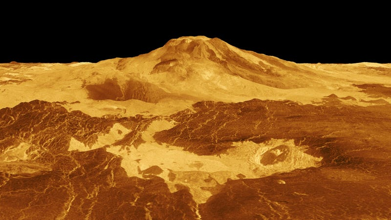 Reprojection of Maat Mons. (Image: NASA/Magellan)