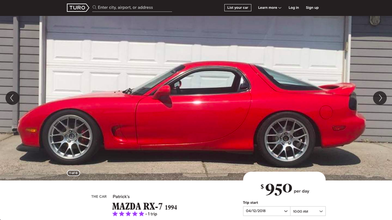 Illustration for article titled Bless This Guy Renting His Pristine 1994 Mazda RX-7 For $950 Per Day