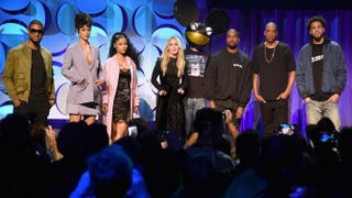 Usher, Rihanna, Nicki Minaj, Madonna, Deadmau5, Kanye West, Jay Z and J. Cole onstage at the Tidal launch event #TidalForAll at Skylight at Moynihan Station in New York City March 30, 2015Jamie McCarthy/Getty Images for Roc Nation